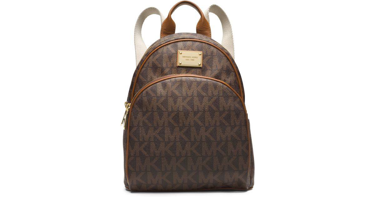 d36ecfa92e9d Michael Kors Jet Set Travel Logo Small Backpack in Brown - Lyst