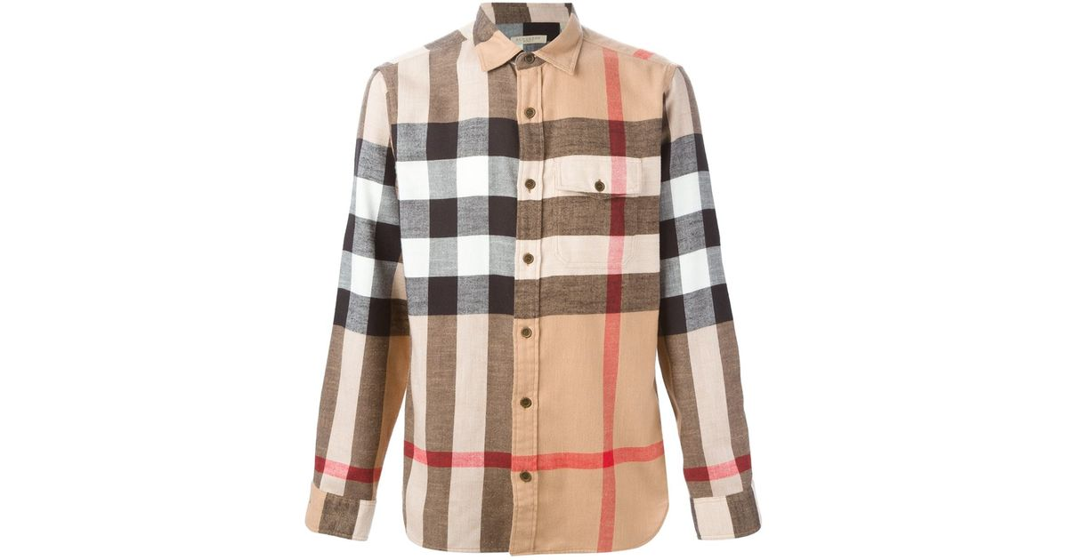 Burberry brit checked shirt in beige for men multicolour for Burberry brit checked shirt