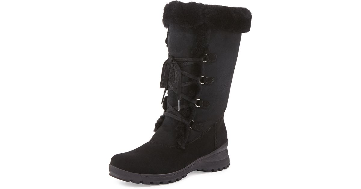 8c1325a47 La Canadienne Annabella Shearling Fur-lined Boots Black in Black - Lyst