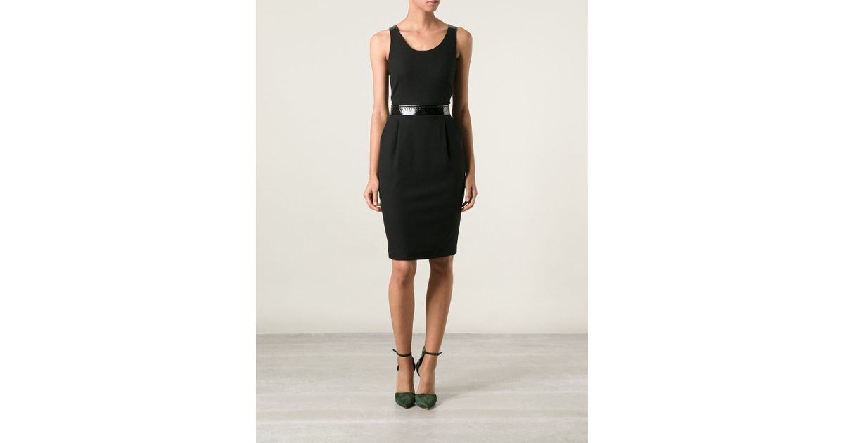 Lyst Emporio Armani Sleeveless Belted Pencil Dress In Black