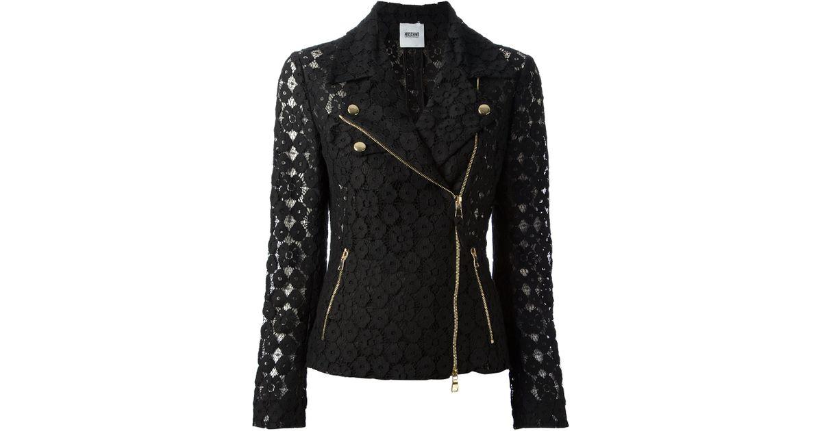 Black lace biker jacket