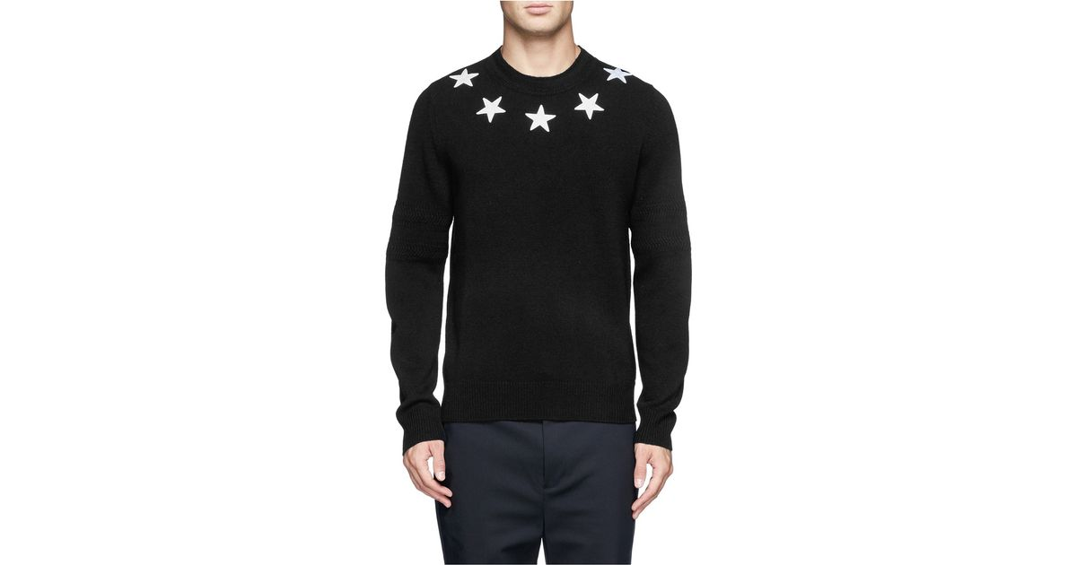 81b2a427fb41b Lyst - Givenchy Star Appliqué Wool Sweater in Black for Men