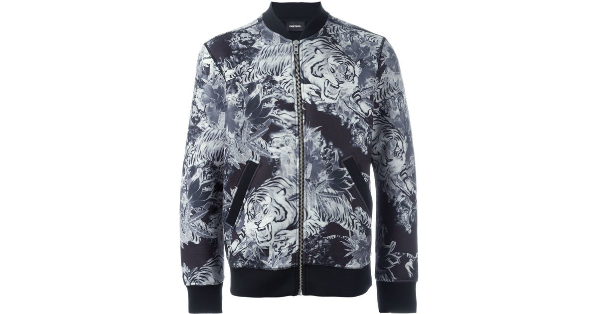 f5364d69d911 DIESEL Tiger Print Bomber Jacket in Blue for Men - Lyst