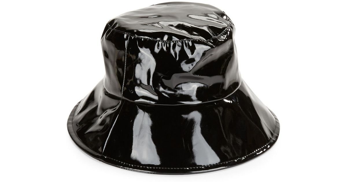 August Accessories Faux Patent Leather Bucket Hat in Black - Lyst e0d090151eb
