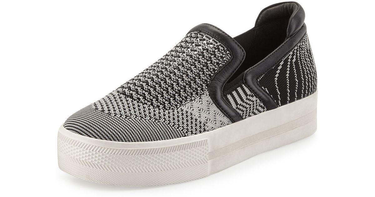 Knitting Slip On Shoes : Ash jeday knit slip on sneaker in black lyst