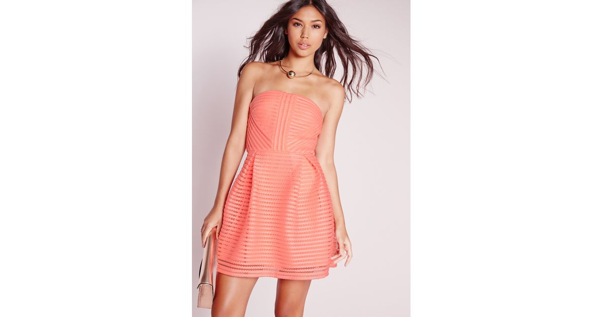 Lyst - Missguided Crochet Lace Bandeau Prom Dress Pink in Pink
