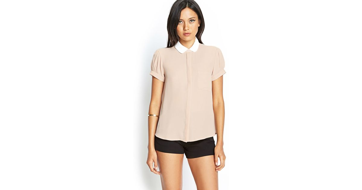 4ee6cfed625b Forever 21 Contrast Peter Pan Collar Blouse in Pink - Lyst