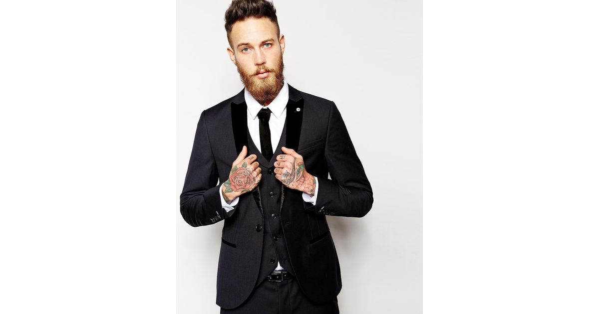 Noose and monkey Suit Jacket With Velvet Lapel In Super Skinny Fit ...