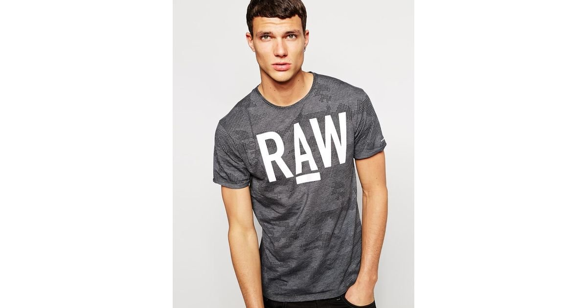 24354b6507f G-Star RAW T-Shirt Allover Digi Camo Raw Logo Print in Gray for Men - Lyst
