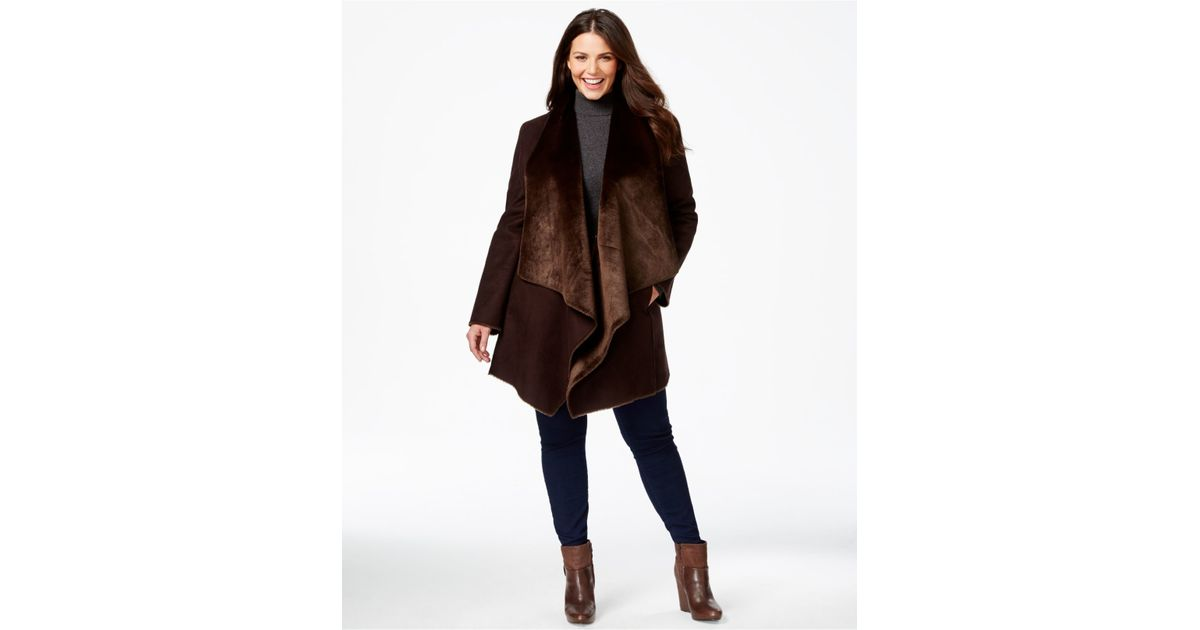 88f6a70f295 Lyst - Calvin Klein Plus Size Draped Faux-shearling Coat in Brown