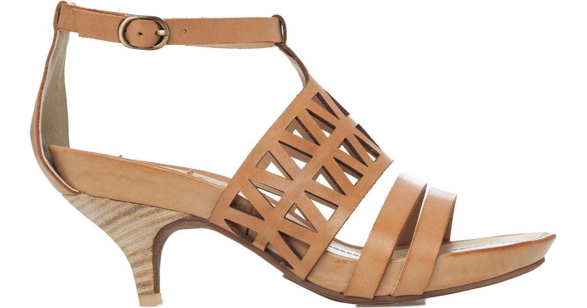 Leon max Mac - Leather Kitten Heel Sandals in Brown | Lyst