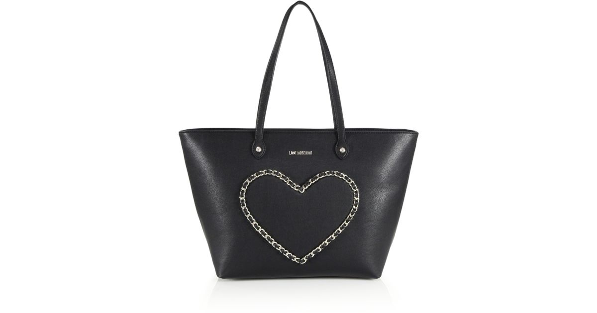 bd507df3aeb Lyst - Love Moschino Chain Heart Tote in Black