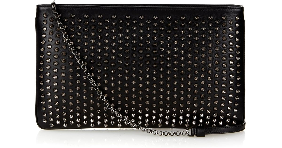 d14873272975 Lyst - Christian Louboutin Loubiposh Spikes Leather Pouch in Black
