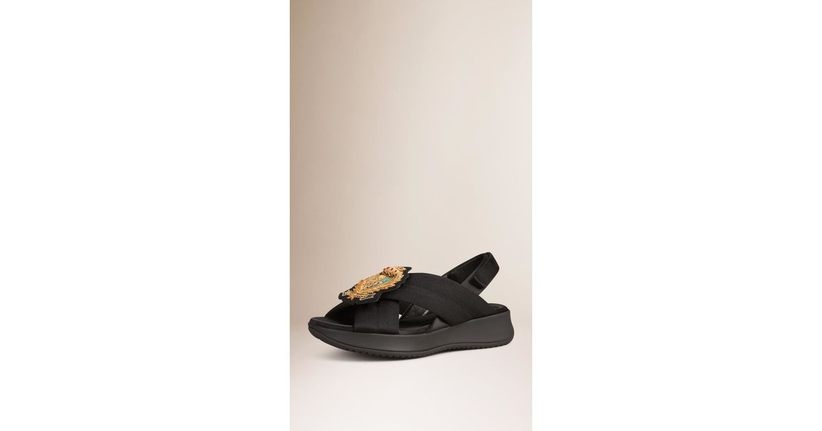 burberry sport crest embroidered sport sandals in black lyst