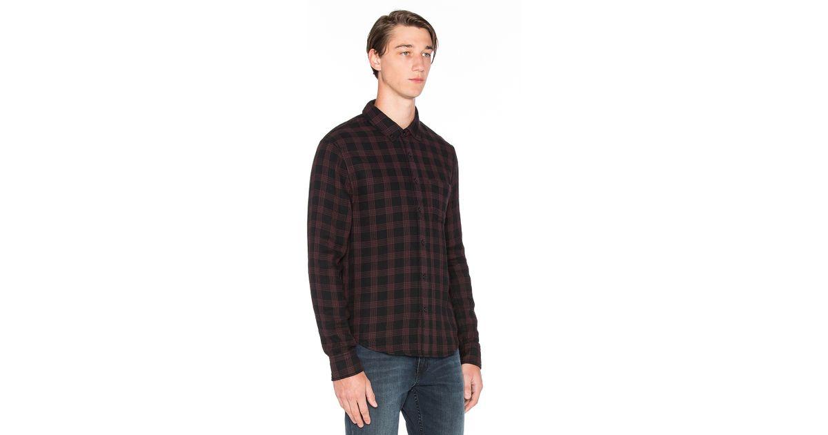 Joes Jeans Mens Double Woven Plaid Pigment Shirt
