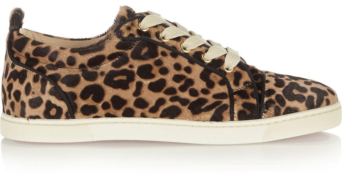 63d39a5a655 Lyst - Christian Louboutin Gondoliere Leopard-print Calf Hair Sneakers