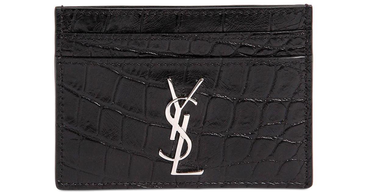 009b19e06ab Saint Laurent Croc Embossed Leather Card Holder in Black for Men - Lyst