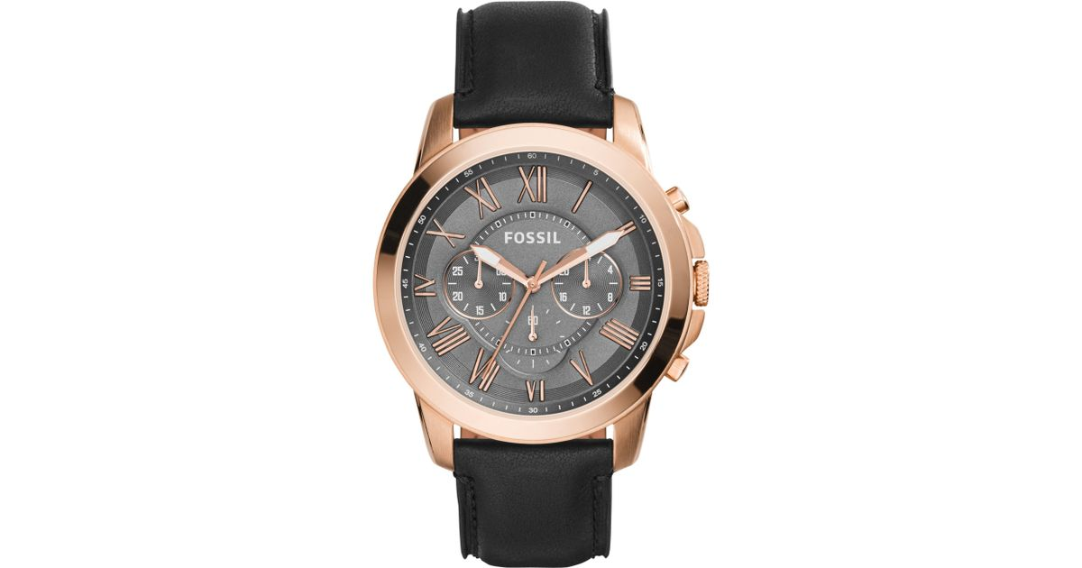 4799a835387d1 Fossil Men s Grant Chronograph Leather Strap Watch in Metallic for Men -  Lyst