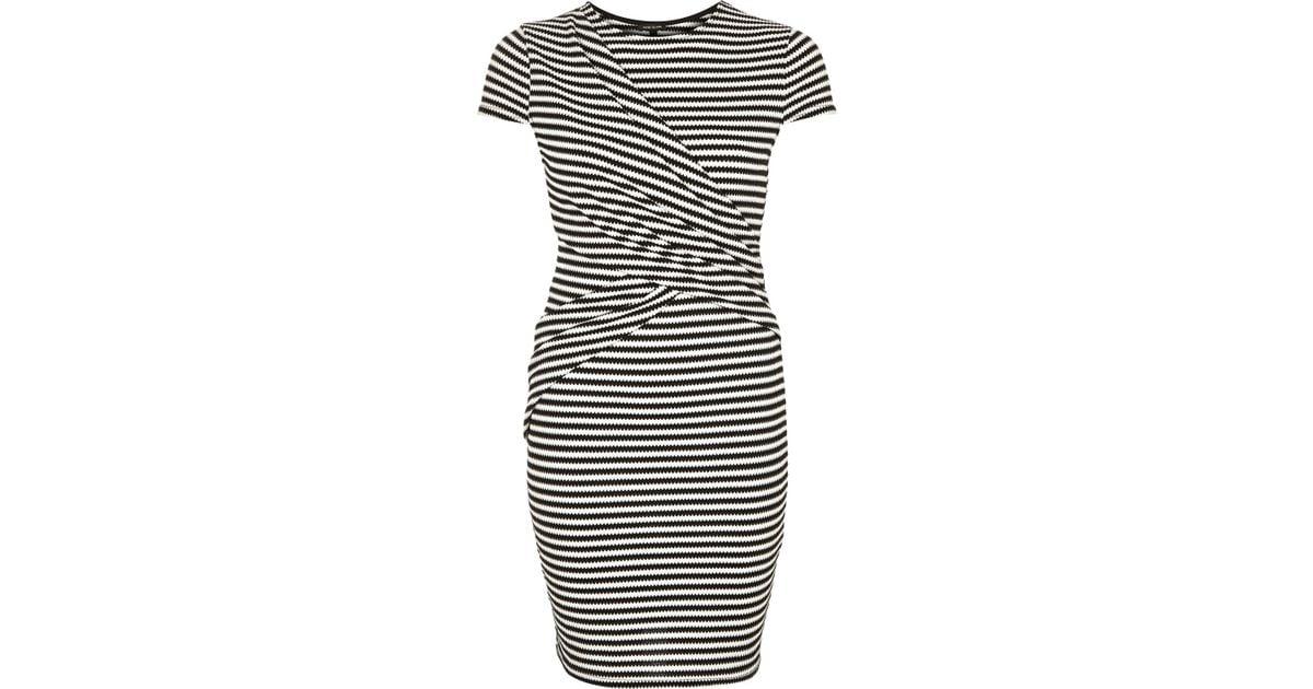 Lyst River Island Black Stripe Wrap Bodycon Dress In Black