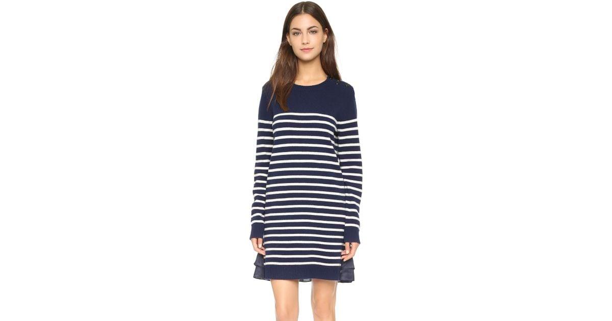 7ab2cec4e864 Lyst - CLU Too Marine Striped Sweater Dress - Navy in Blue