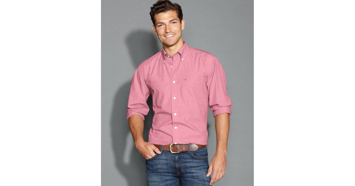 05394d31 Tommy Hilfiger Big and Tall Longsleeve Vineyard Striped Shirt in Pink for  Men - Lyst
