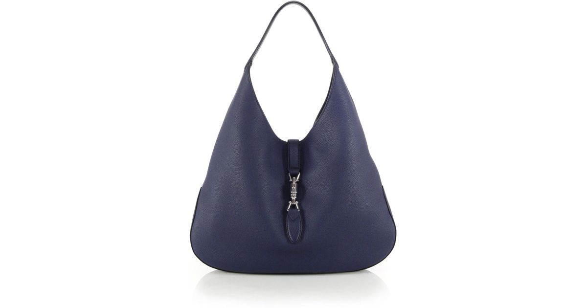 5c5bb7b53663 Gucci Jackie Soft Leather Hobo Bag in Blue - Lyst