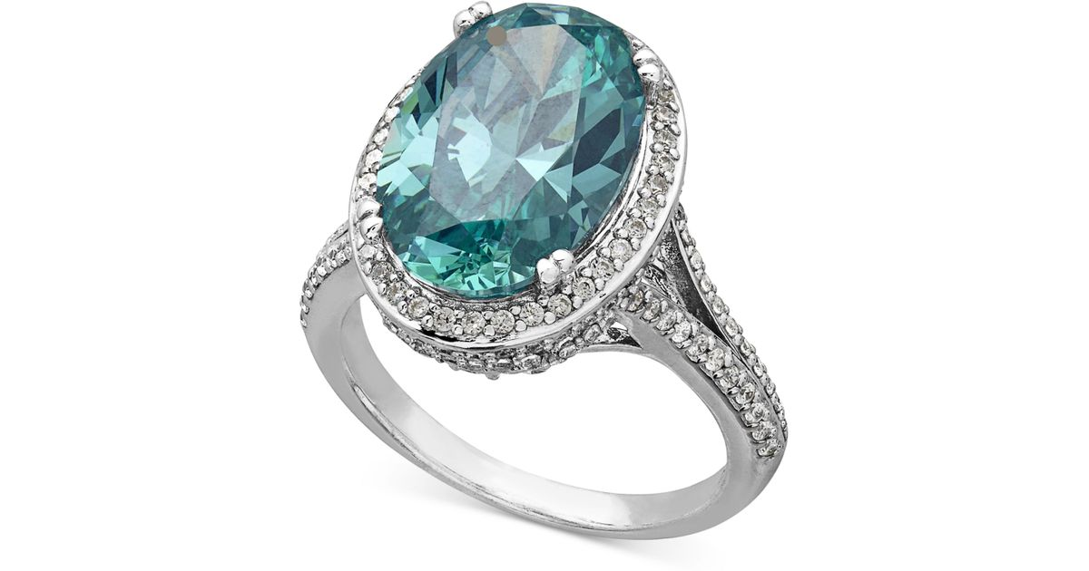 8f39df05ceb9 Lyst - Arabella Mint And White Swarovski Zirconia Ring In Sterling Silver  (12-3 4 Ct. T.w.) in Metallic