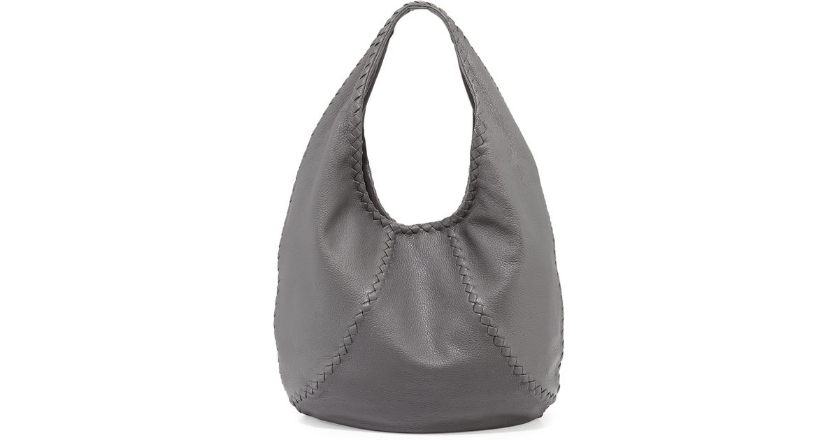 57b2f942579ae Bottega Veneta Cervo Large Hobo Bag in Gray - Lyst