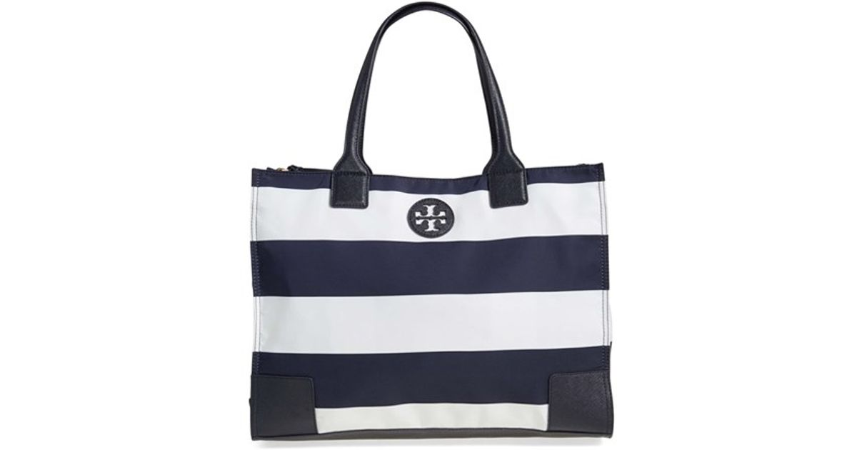 8f3a84dc1afe Lyst - Tory Burch  ella  Stripe Packable Nylon Tote in Black