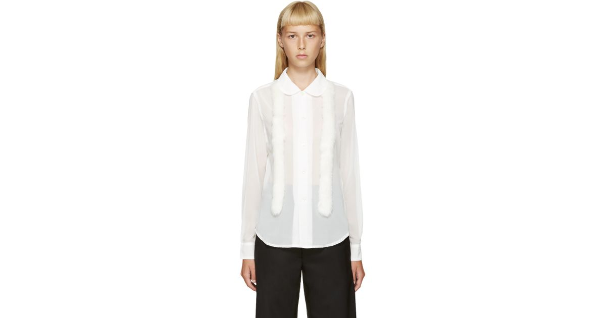 Clearance 2018 Faux Leather-trimmed Tulle Blouse - White Comme Des Garçons Free Shipping Best DyNI2h