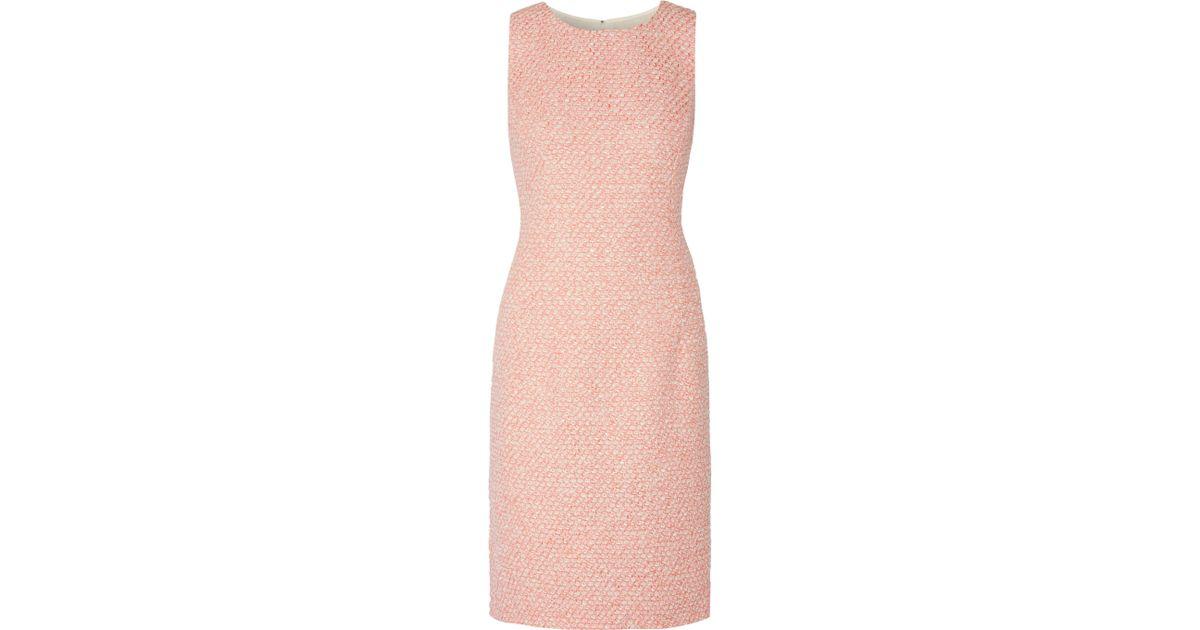 Lyst Oscar De La Renta Metallic Boucle Tweed Dress In Pink