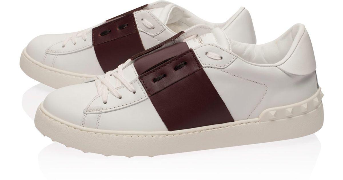 valentino white and burgundy tennis stripe leather