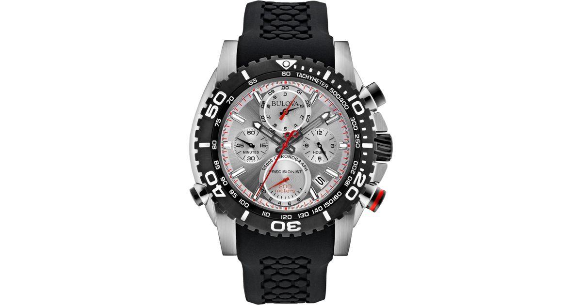 4cace2083 Bulova Men's Chronograph Precisionist Black Silicone Strap Watch 48mm  98b210 in Black for Men - Lyst