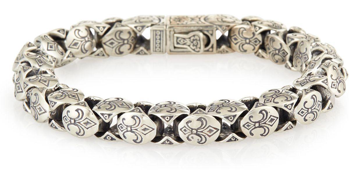 Konstantino Minos Men S Fleur De Lis Large Link Bracelet In Metallic For Lyst