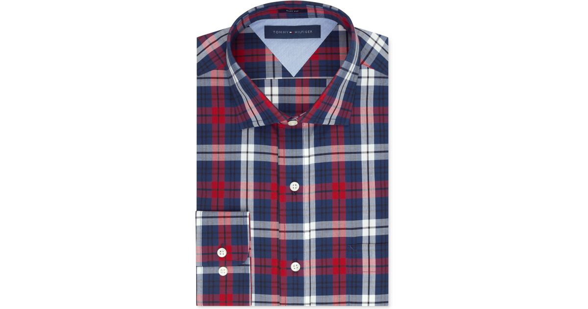 f07d821e2 Tommy Hilfiger Slim-Fit Red And Blue Plaid Dress Shirt in Blue for Men -  Lyst