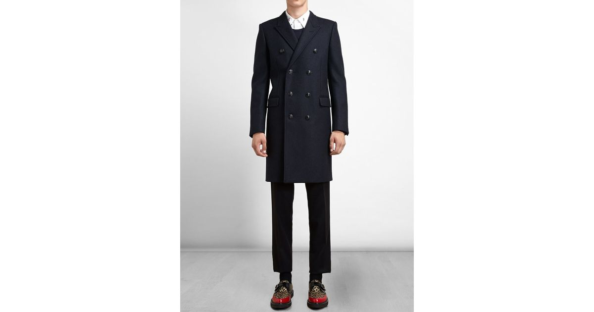 ebbc13a993d Saint Laurent Double-Breasted Wool Coat in Blue for Men - Lyst