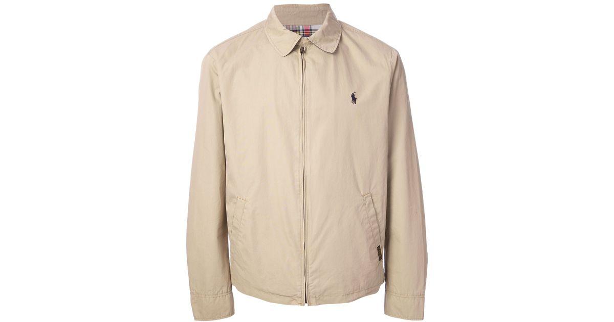 polo ralph lauren classic harrington jacket in beige for. Black Bedroom Furniture Sets. Home Design Ideas