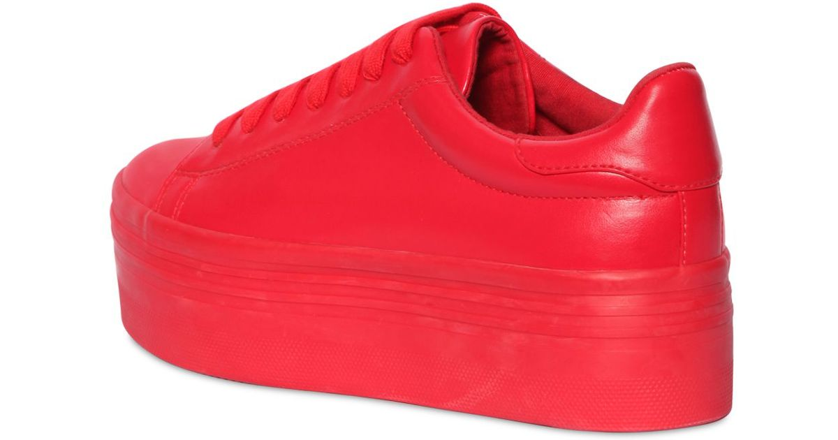 23c44f0a58b Lyst - Jeffrey Campbell 60mm Stan Faux Leather Platform Sneakers in Red
