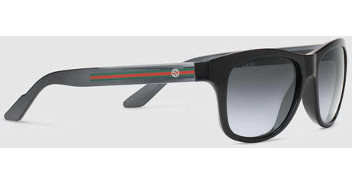 da20441d9d7 Lyst - Gucci Bio-based Rectangle Web Sunglasses in Black