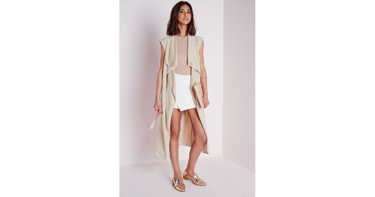 ad684059a678b2 Lyst - Missguided Sleeveless Belted Waterfall Duster Coat Camel in Natural