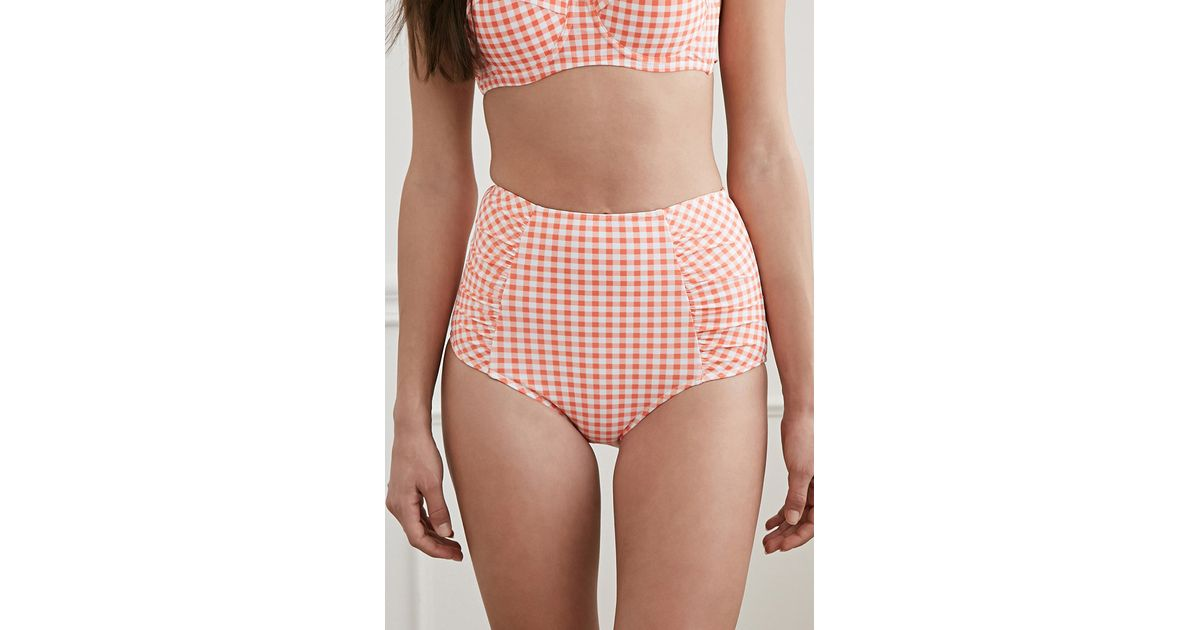 4f8187ebf86c Forever 21 Gingham High-waisted Bikini Bottoms in Pink - Lyst