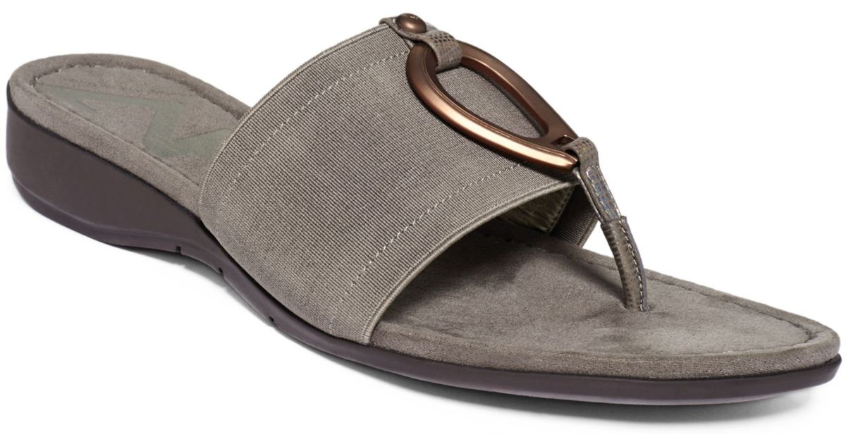 7faed7f848d0 Lyst - Anne Klein Kirsikka Wedge Thong Sandals in Gray
