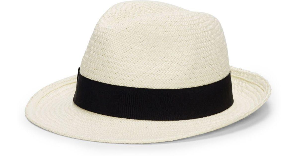 6a3419fec1ca3 Club Monaco Hat Attack Panama Hat in White - Lyst