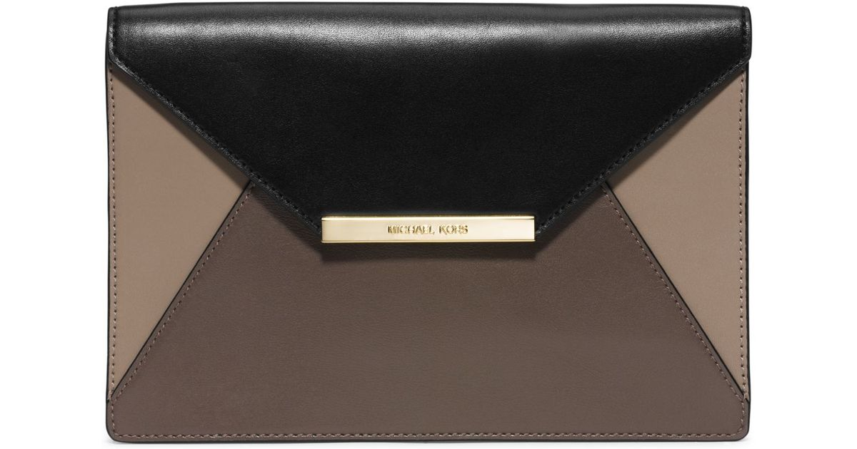 1a360ee3306cc Lyst - Michael Kors Lana Color-block Leather Envelope Clutch in Gray