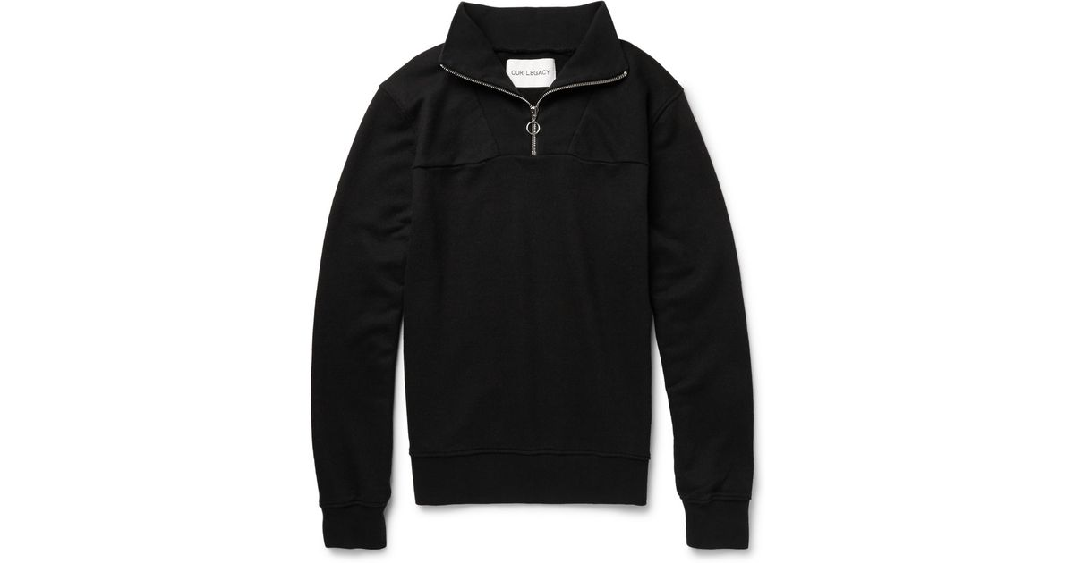 Our legacy Ribbed Cotton-Blend Half-Zip Sweatshirt in Black for ...