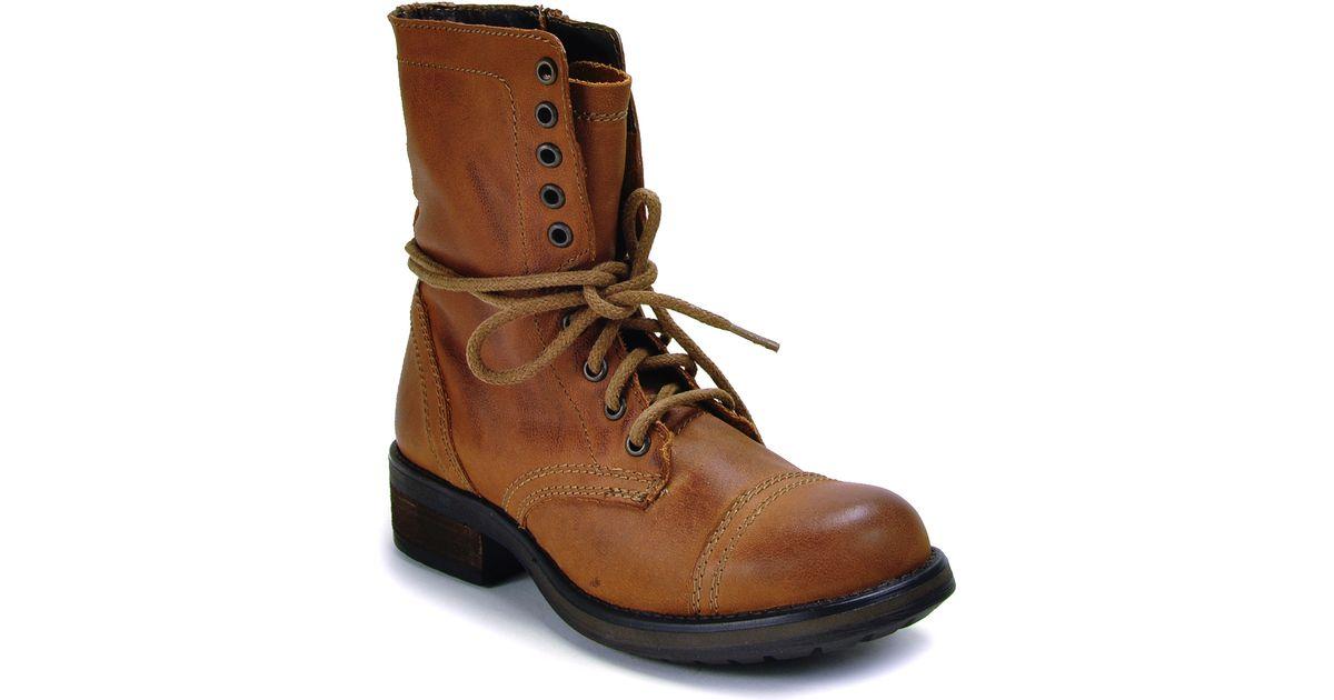 steve madden combat boot in brown cognac lyst