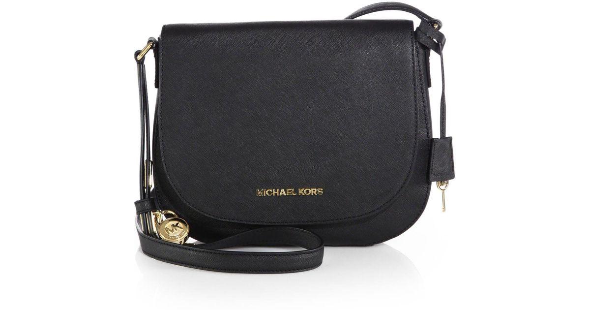 844059f1ffe5 MICHAEL Michael Kors Hamilton Large Saffiano Leather Shoulder Bag in Black  - Lyst