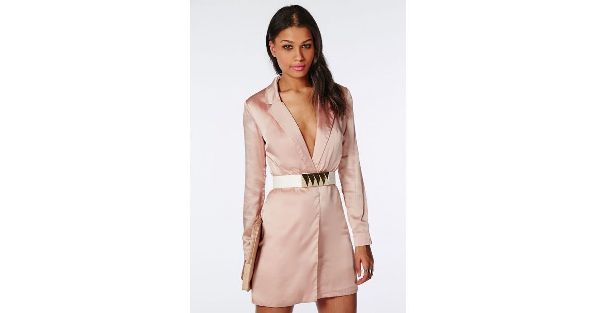 c4d7c35c9a Missguided Silky Long Sleeve Wrap Shift Dress Pink in Pink - Lyst