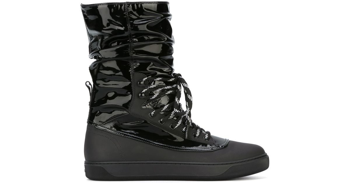 ee3f971384b4 Lyst - Moncler Lace-Up Patent-Leather Snow Boots in Black