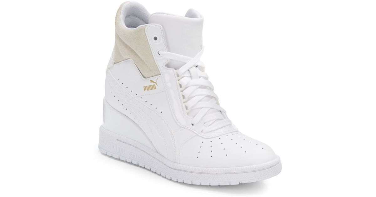 timeless design 31160 2f5fe PUMA Advantage Leather Wedge Sneakers in White - Lyst